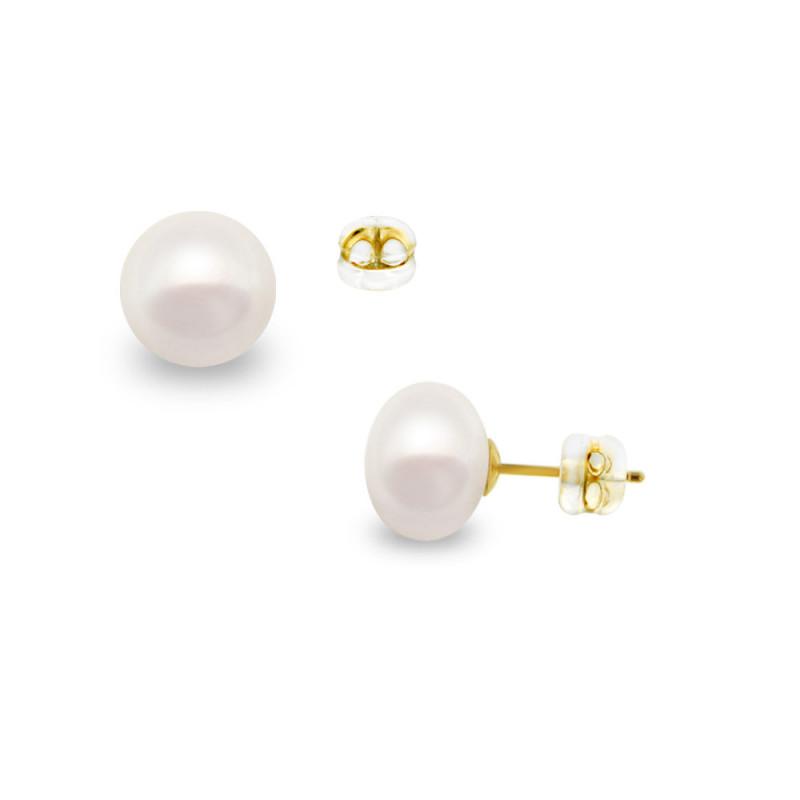 Σκουλαρίκια με λευκά μαργαριτάρια σε χρυσή βάση Κ14 - G418944S14