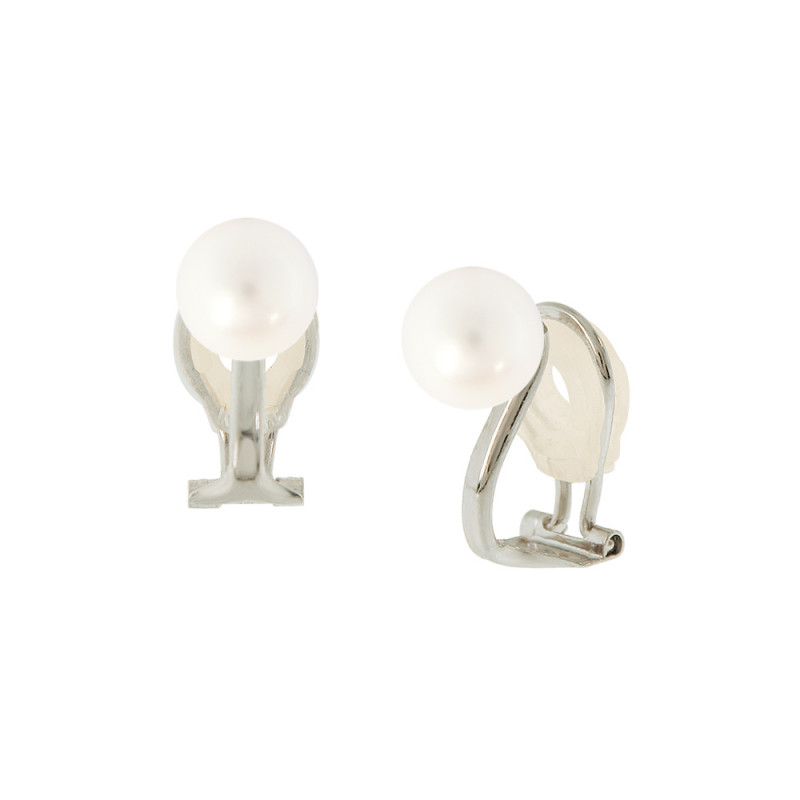 Σκουλαρίκια με λευκά μαργαριτάρια σε λευκόχρυση βάση Κ14 - W318823