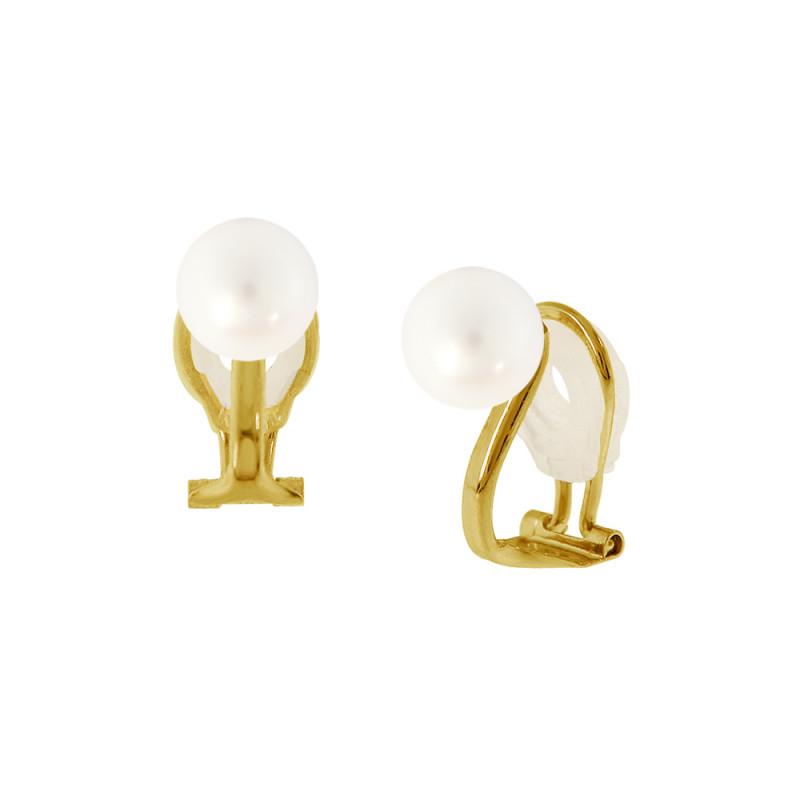 Σκουλαρίκια με λευκά μαργαριτάρια σε χρυσή βάση Κ14 - G318823