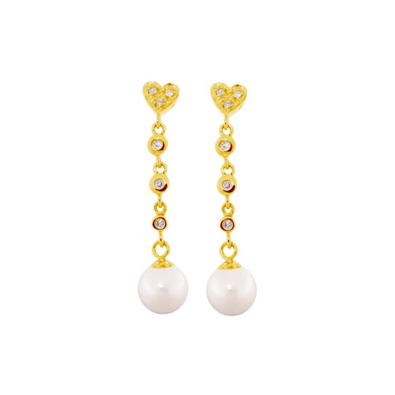 Σκουλαρίκια με λευκά μαργαριτάρια και διαμάντια σε χρυσή βάση Κ18 - G317931