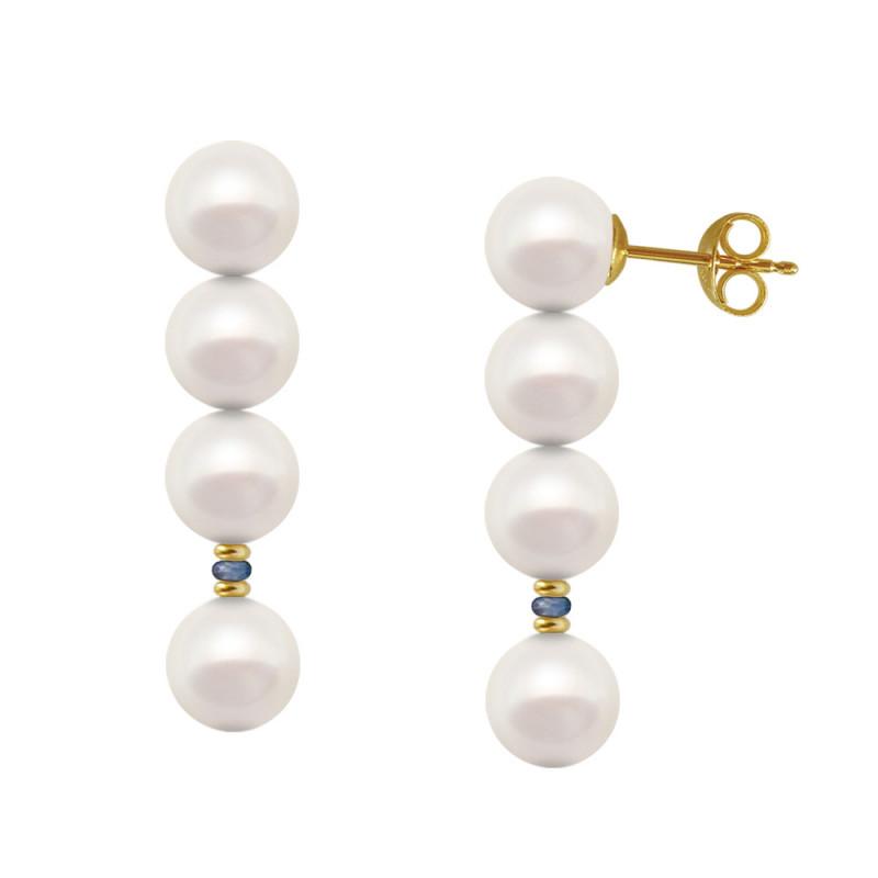 Σκουλαρίκια με λευκά μαργαριτάρια και ζαφείρια σε χρυσή βάση Κ14 - G121776S