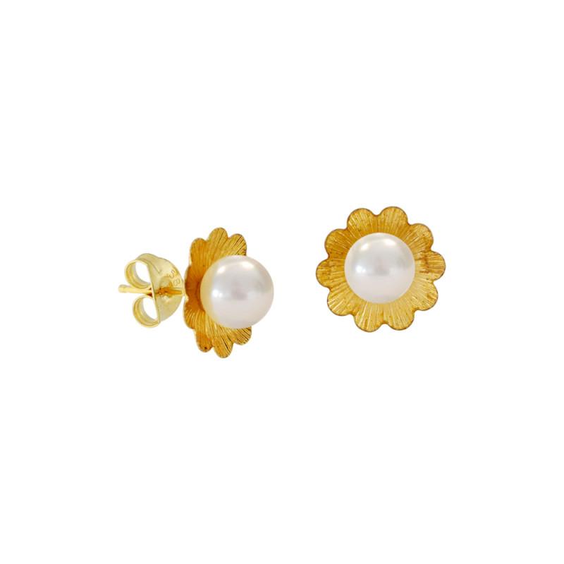 Σκουλαρίκια με λευκά μαργαριτάρια σε χρυσή βάση Κ14 - M122655