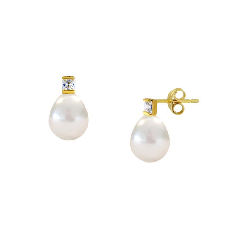 Σκουλαρίκια με λευκά μαργαριτάρια και ζιργκόν σε χρυσή βάση Κ14 - M123037