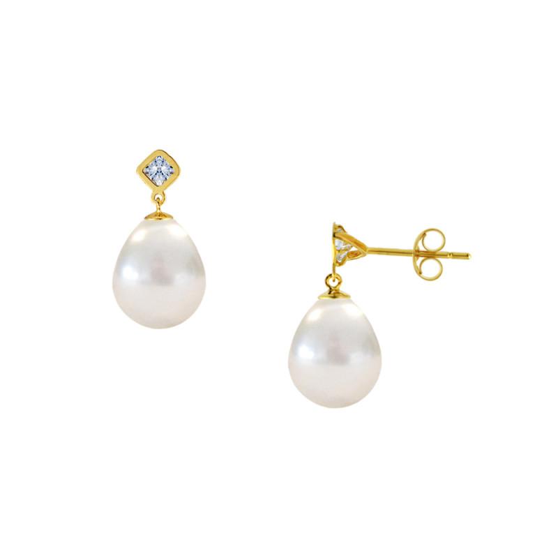 Σκουλαρίκια με λευκά μαργαριτάρια και ζιργκόν σε χρυσή βάση Κ14 - M123038