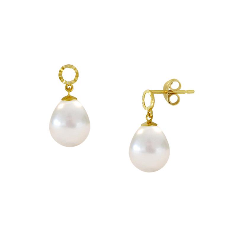Σκουλαρίκια με λευκά μαργαριτάρια σε χρυσή βάση Κ14 - M123039