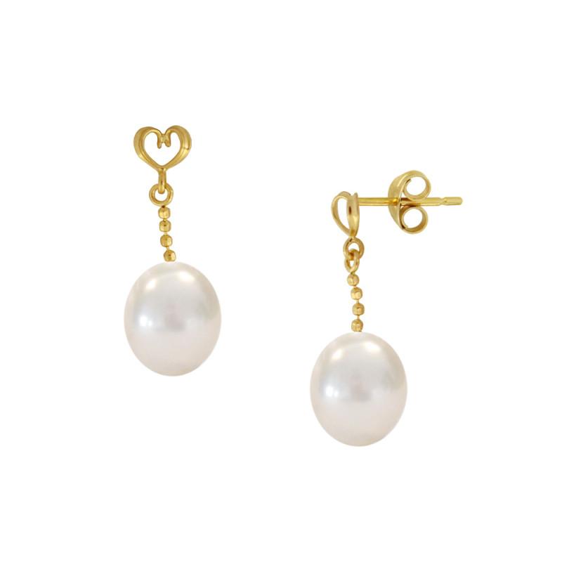 Σκουλαρίκια με λευκά μαργαριτάρια σε χρυσή βάση Κ14 - M123041