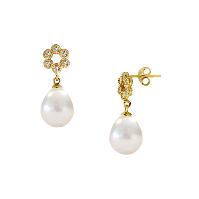 Σκουλαρίκια με λευκά μαργαριτάρια και ζιργκόν σε χρυσή βάση Κ14 - M123042