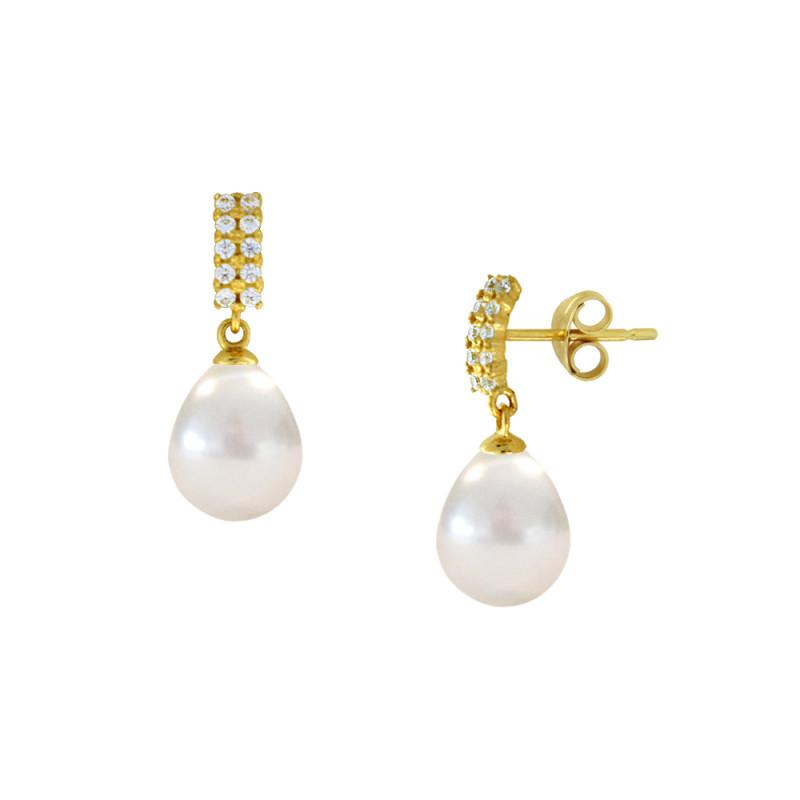 Σκουλαρίκια με λευκά μαργαριτάρια και ζιργκόν σε χρυσή βάση Κ14 - M123043