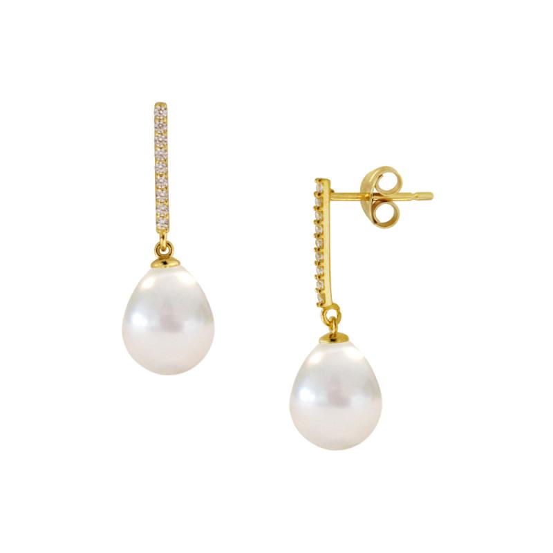 Σκουλαρίκια με λευκά μαργαριτάρια και ζιργκόν σε χρυσή βάση Κ14 - M123044