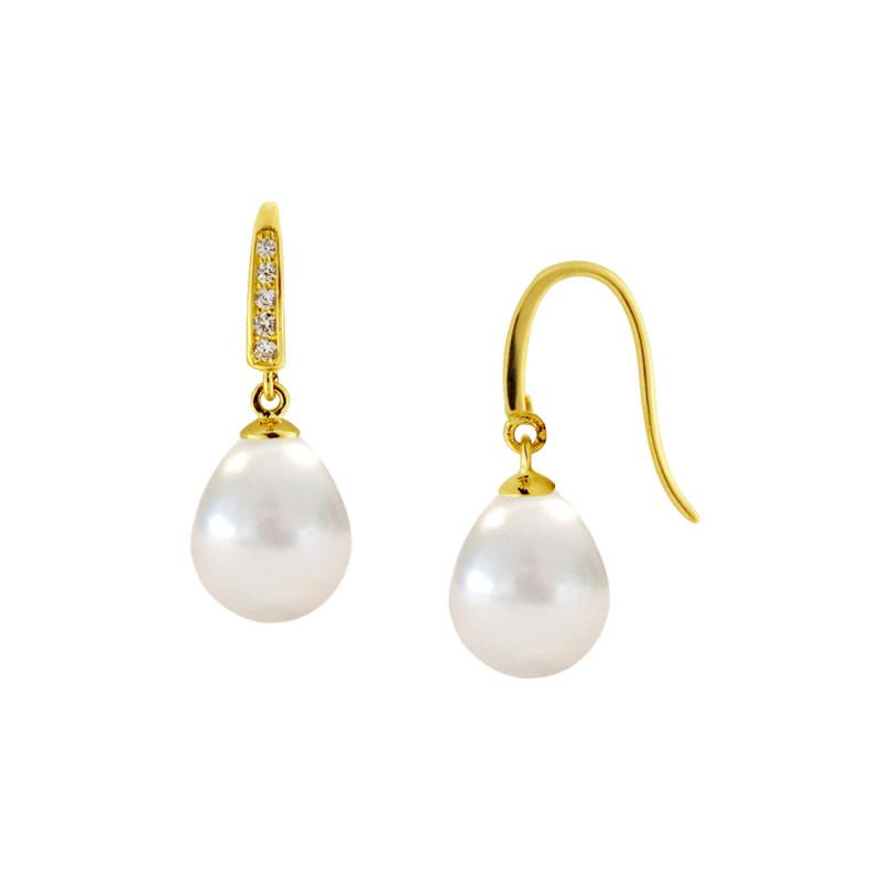 Σκουλαρίκια με λευκά μαργαριτάρια και ζιργκόν σε χρυσή βάση Κ14 - M123048