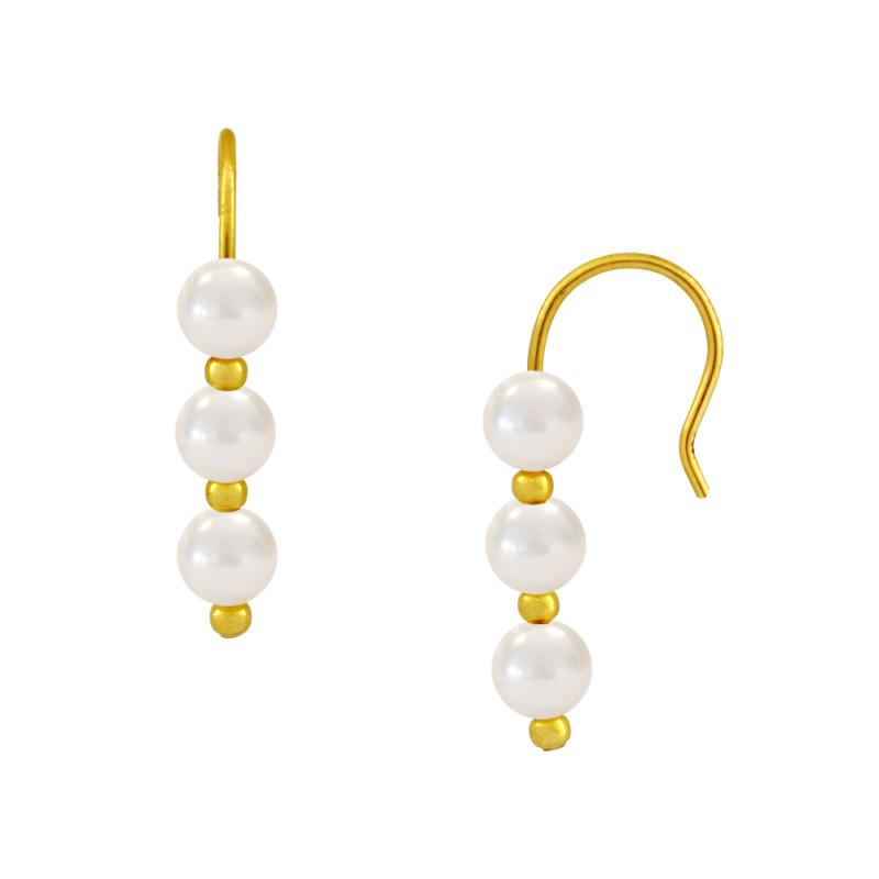 Σκουλαρίκια με λευκά μαργαριτάρια σε χρυσή βάση Κ14 - M123051