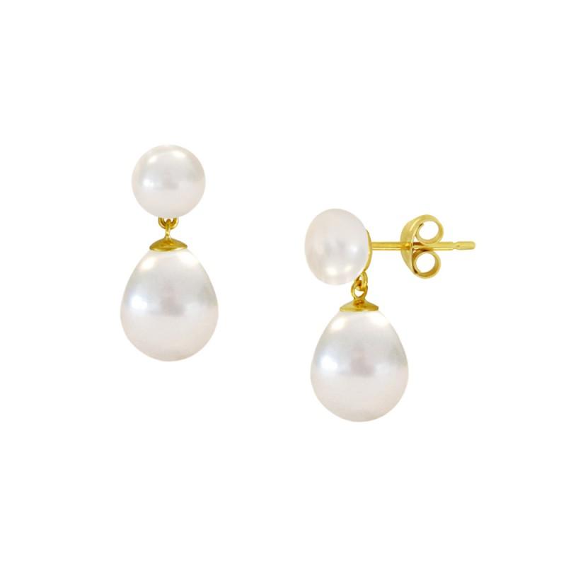 Σκουλαρίκια με λευκά μαργαριτάρια σε χρυσή βάση Κ14 - M123057