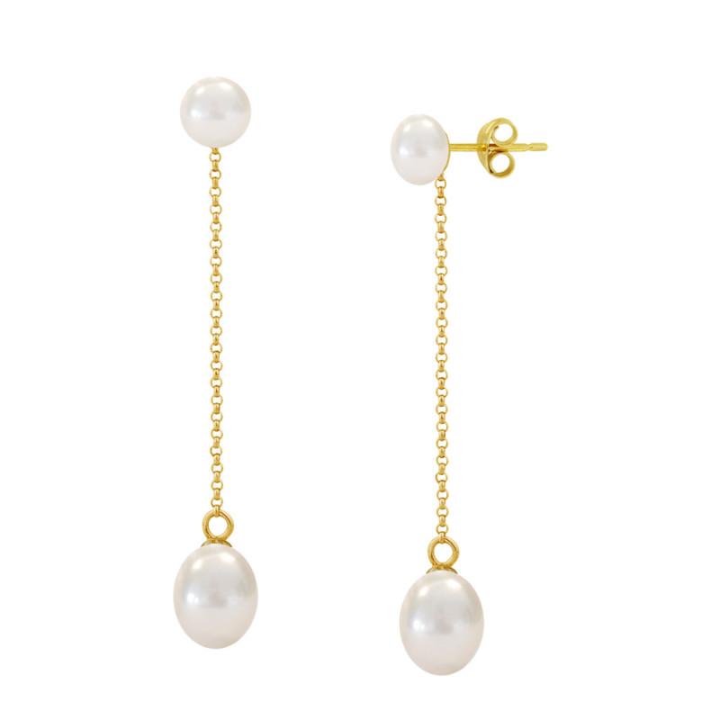 Σκουλαρίκια με λευκά μαργαριτάρια σε χρυσή βάση Κ14 - M123058