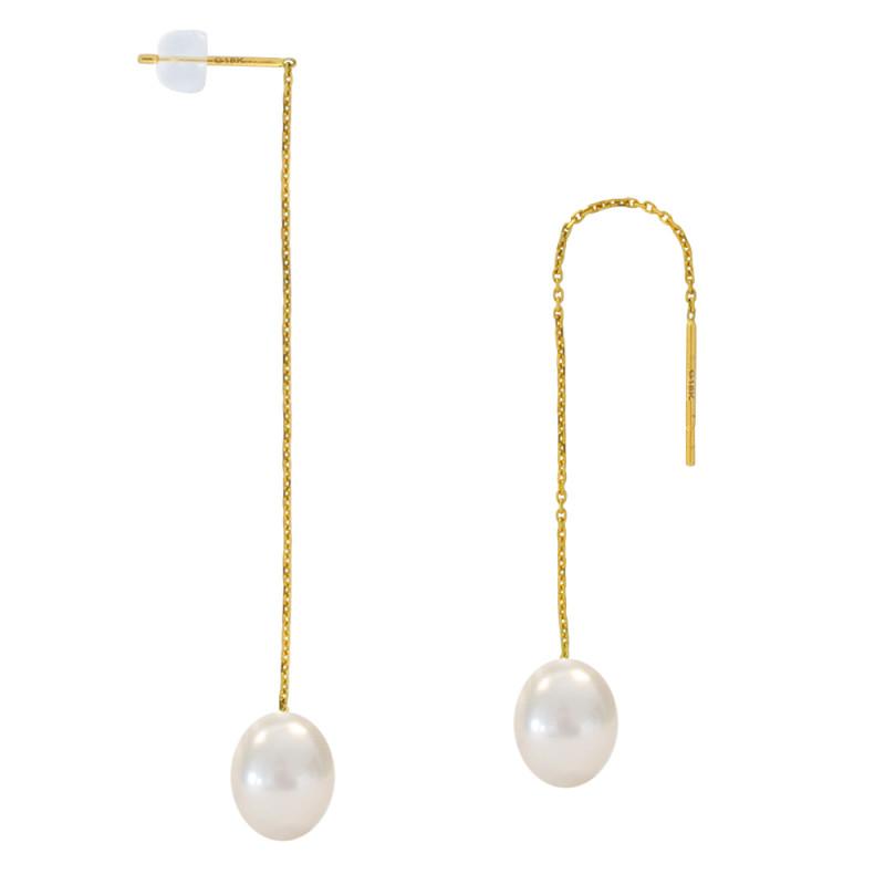 Σκουλαρίκια με λευκά μαργαριτάρια σε χρυσή βάση Κ18 - M123060
