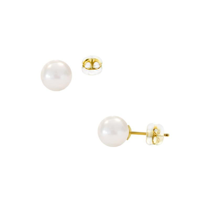 Σκουλαρίκια με λευκά μαργαριτάρια σε χρυσή βάση Κ14 - M123100
