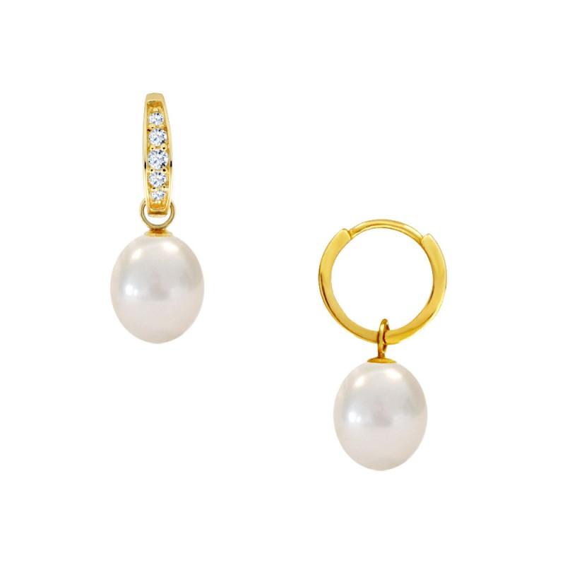 Σκουλαρίκια με μαργαριτάρια και ζιργκόν σε χρυσή βάση Κ14 - M123442