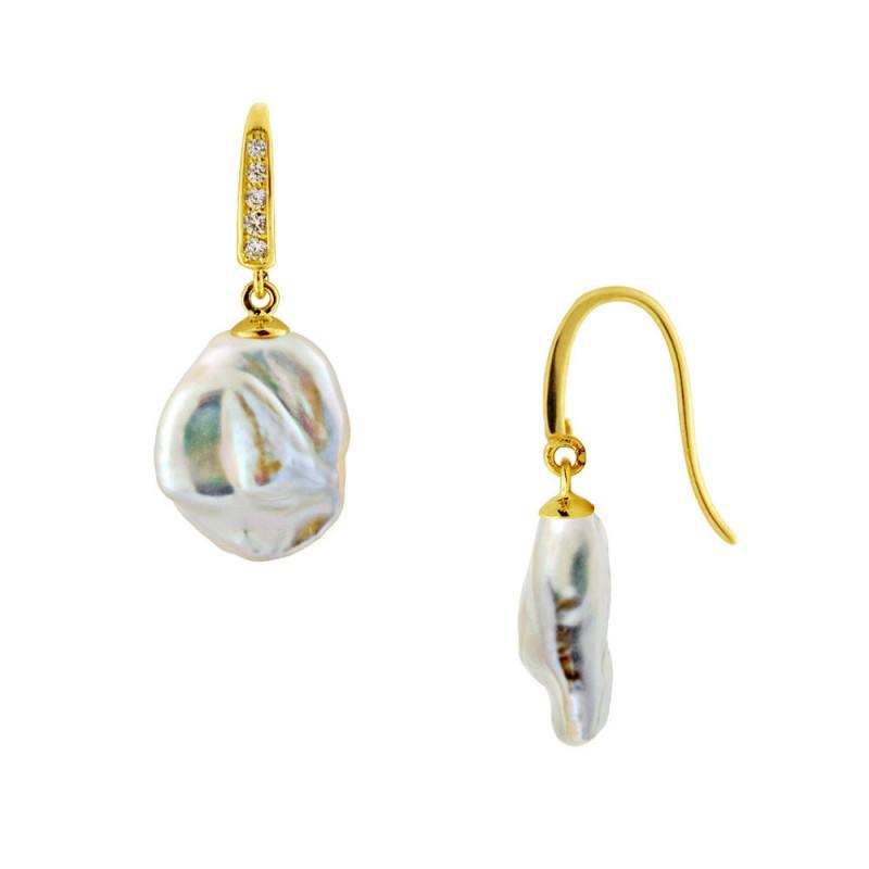 Σκουλαρίκια με μαργαριτάρια και ζιργκόν σε χρυσή βάση Κ14 - M123448
