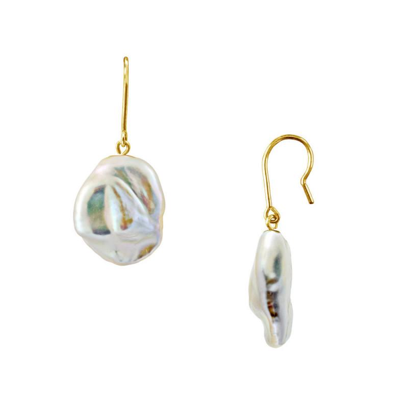 Σκουλαρίκια με μαργαριτάρια σε χρυσή βάση Κ14 - M123449