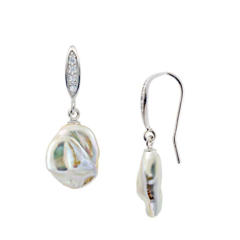 Σκουλαρίκια με μαργαριτάρια σε ασημένια βάση 925 με ζιργκόν - M123695
