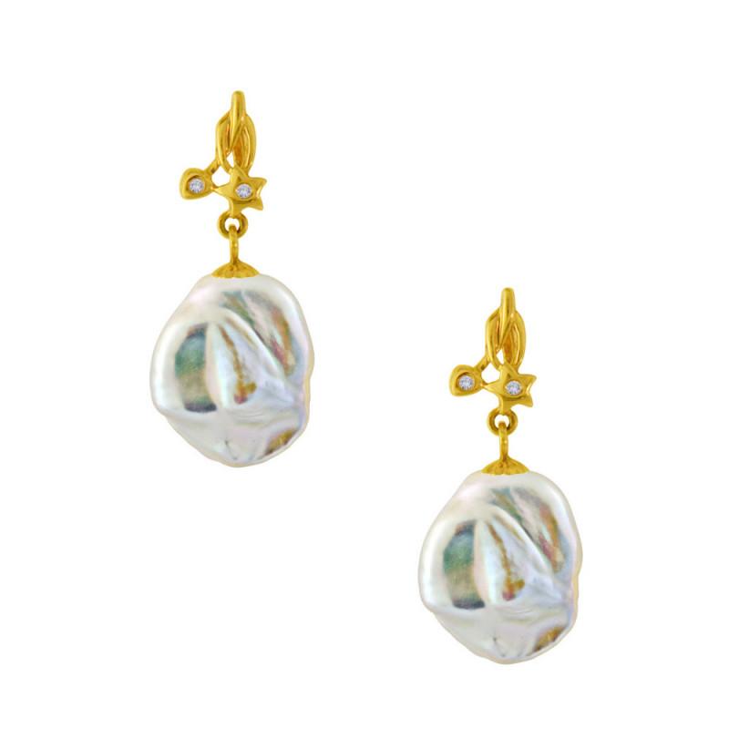 Σκουλαρίκια με Biwa μαργαριτάρια σε χρυσή βάση Κ18 - M123764