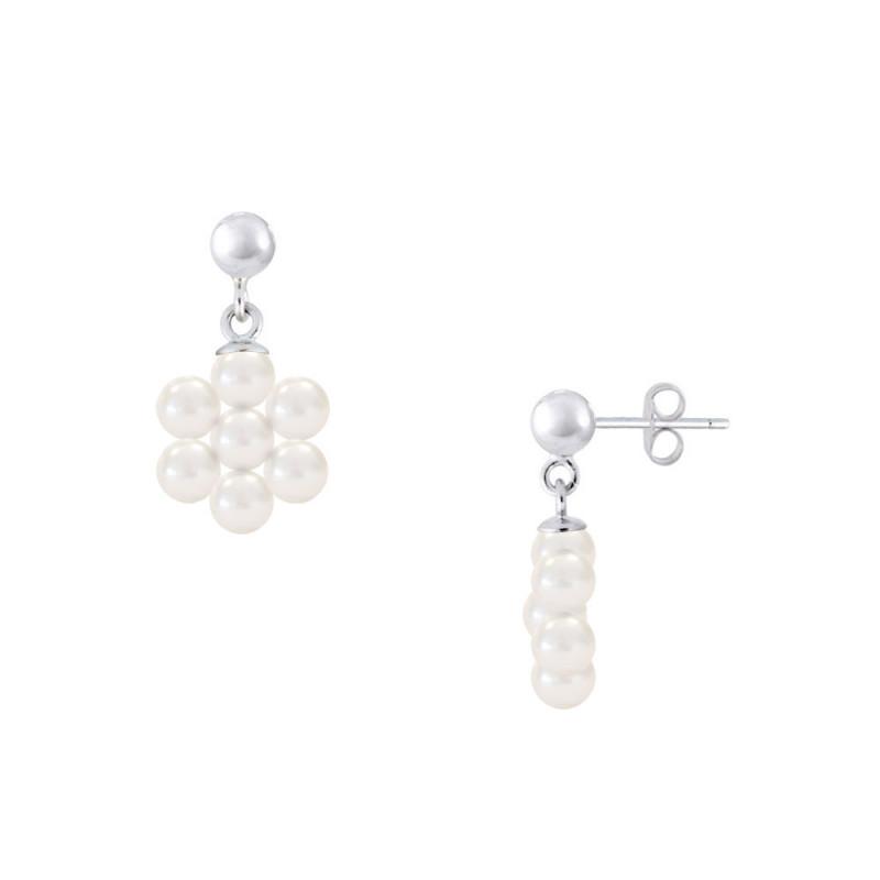 Σκουλαρίκια με λευκά μαργαριτάρια σε ασημένια βάση 925 - M123781