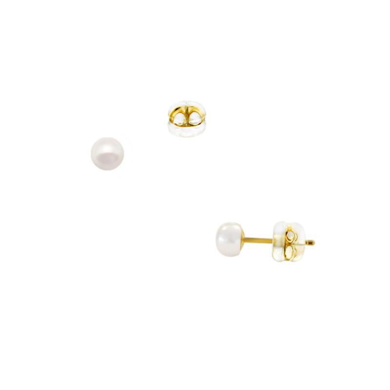 Σκουλαρίκια με λευκά μαργαριτάρια σε χρυσή βάση Κ9 - M123809