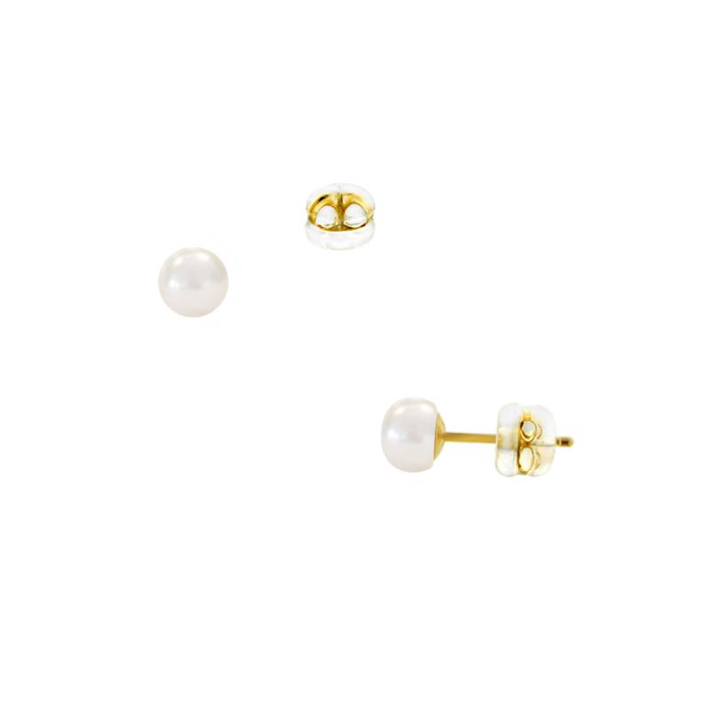 Σκουλαρίκια με λευκά μαργαριτάρια σε χρυσή βάση Κ9 - M123810