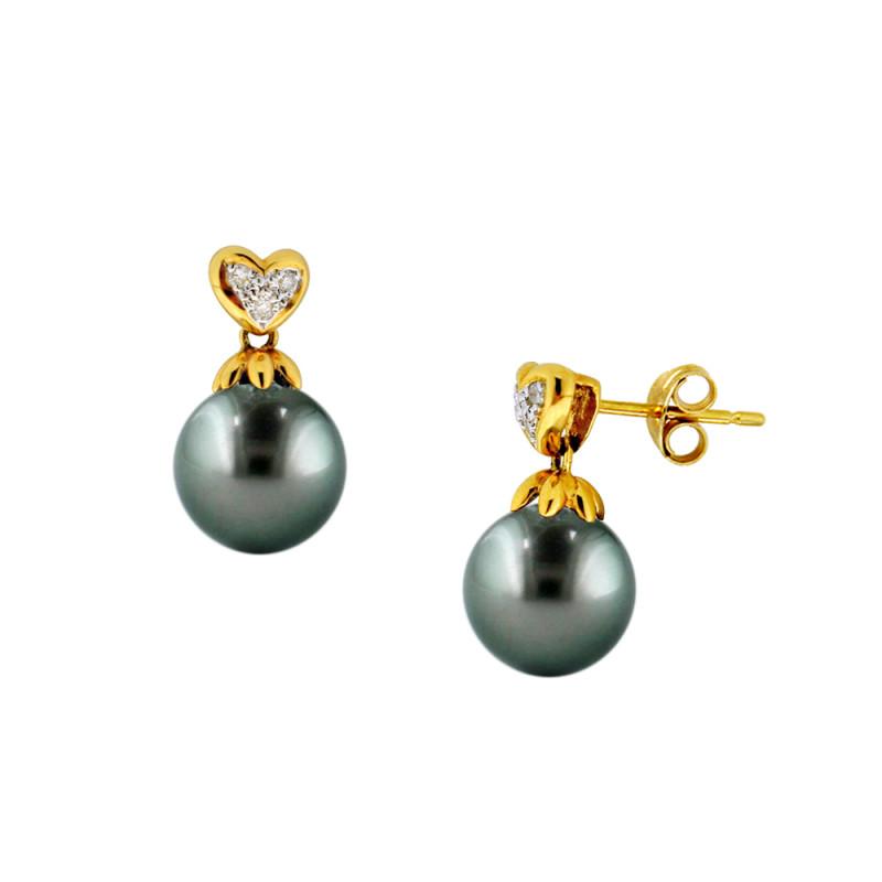 Σκουλαρίκια με μαύρα μαργαριτάρια σε χρυσή βάση Κ18 με διαμάντια - M300192