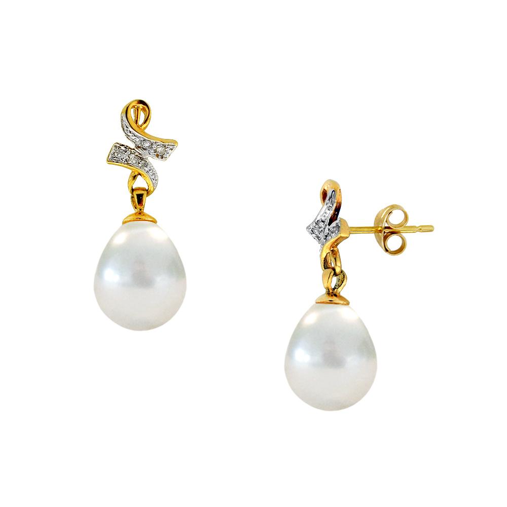 Νέο ΕΝΑ   ΜΟΝΑΔΙΚΟ Σκουλαρίκια με λευκα μαργαριτάρια και διαμάντια σε χρυσή  βάση Κ18 - M303370 9dd8a5b3f9d