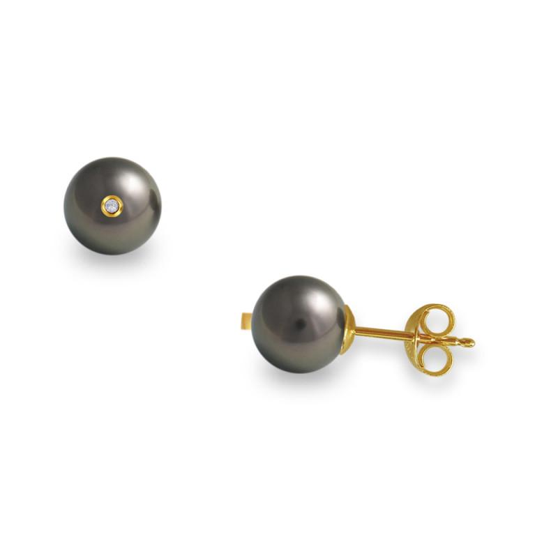 Σκουλαρίκια με μαύρα μαργαριτάρια και διαμάντια σε χρυσή βάση Κ18 - G317599B