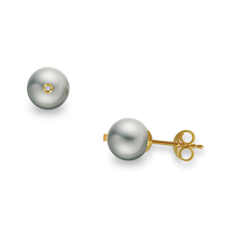 Σκουλαρίκια με γκρι μαργαριτάρια και διαμάντια σε χρυσή βάση Κ18 - G317599G