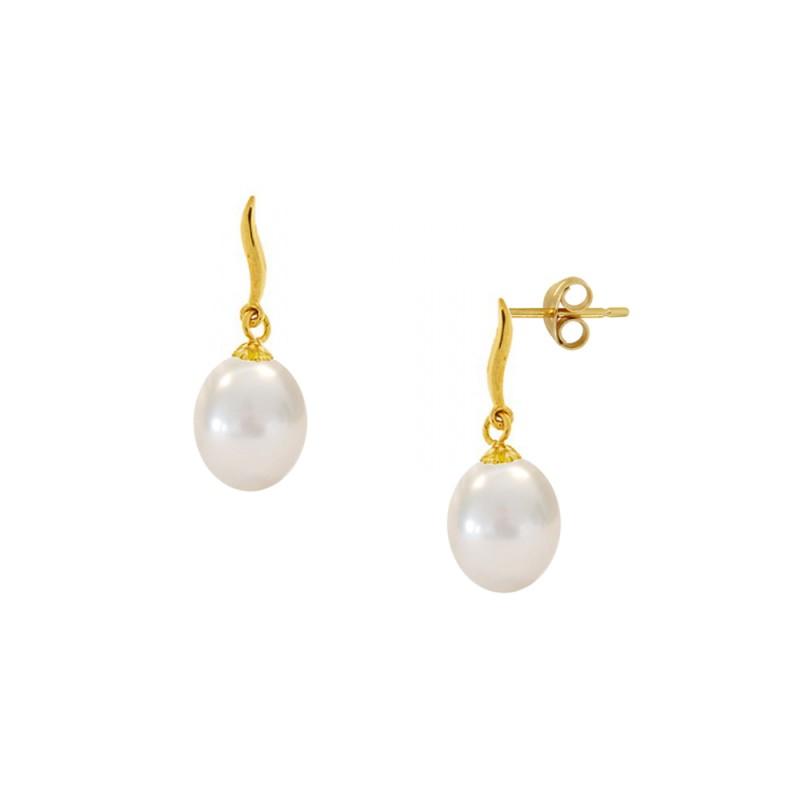Σκουλαρίκια με λευκά μαργαριτάρια σε χρυσή βάση Κ14 - G123056