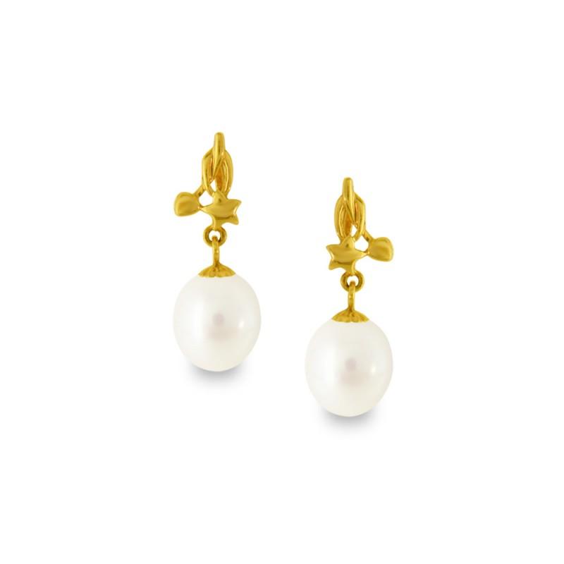 Σκουλαρίκια με λευκά μαργαριτάρια σε χρυσή βάση Κ18 - G318806