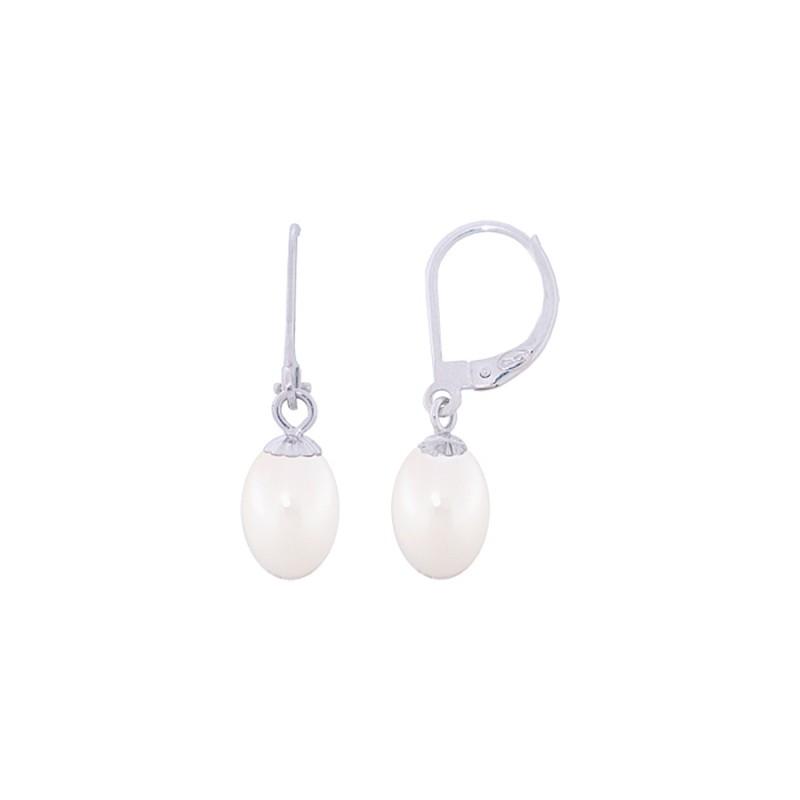 Σκουλαρίκια με λευκά μαργαριτάρια σε λευκόχρυση βάση Κ14 - W318810