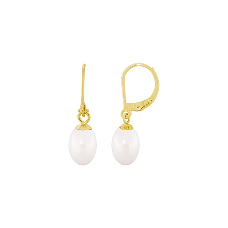 Σκουλαρίκια με λευκά μαργαριτάρια σε χρυσή βάση Κ14 - G318810