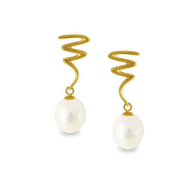 Σκουλαρίκια με λευκά μαργαριτάρια σε χρυσή βάση Κ14 - G318812