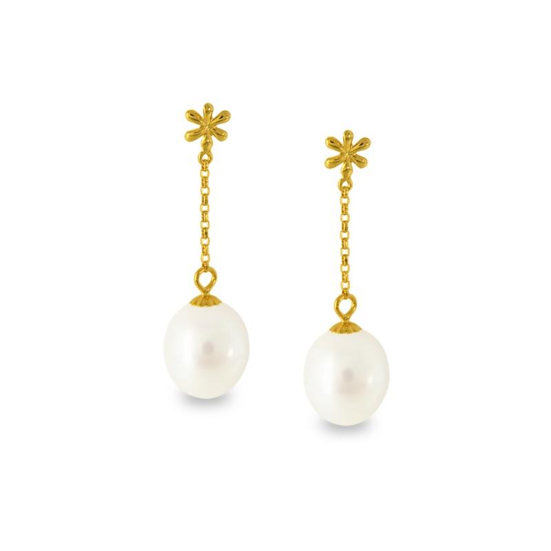 Σκουλαρίκια με λευκά μαργαριτάρια σε χρυσή βάση Κ14 - G318813