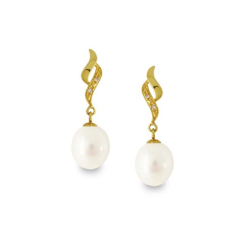 Σκουλαρίκια με λευκά μαργαριτάρια και διαμάντια σε χρυσή βάση Κ14 - G318816