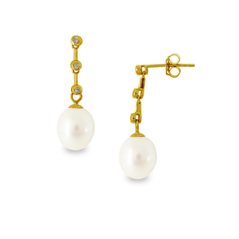 Σκουλαρίκια με μαργαριτάρια και διαμάντια σε χρυσή βάση Κ18 - G318817