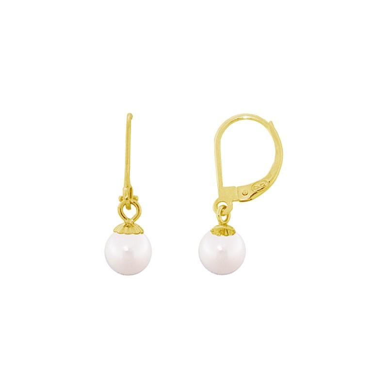 Σκουλαρίκια με λευκά μαργαριτάρια σε χρυσή βάση Κ14 - G318824