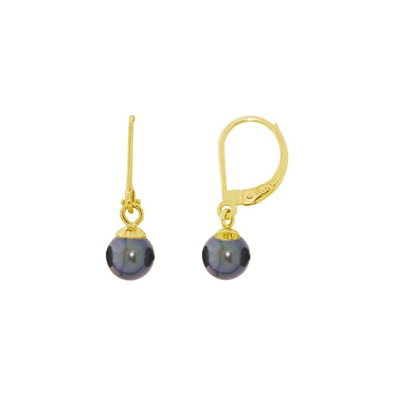 Σκουλαρίκια με μαύρα μαργαριτάρια σε χρυσή βάση Κ14 - G318824B