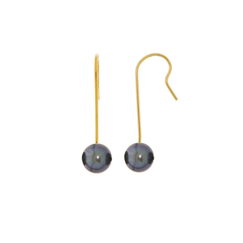Σκουλαρίκια με μαύρα μαργαριτάρια σε χρυσή βάση Κ14 - G318825B