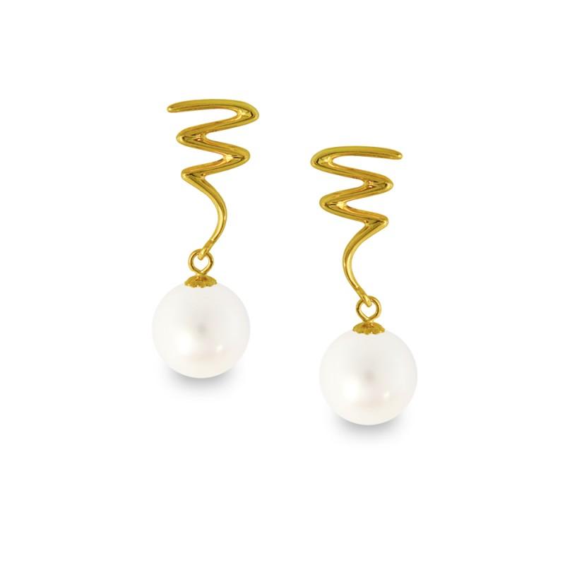 Σκουλαρίκια με λευκά μαργαριτάρια σε χρυσή βάση Κ14 - G318826