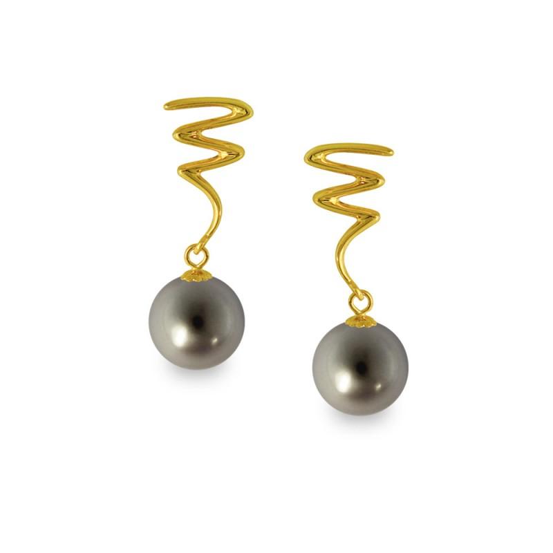 Σκουλαρίκια με μαύρα μαργαριτάρια σε χρυσή βάση Κ14 - G318826B
