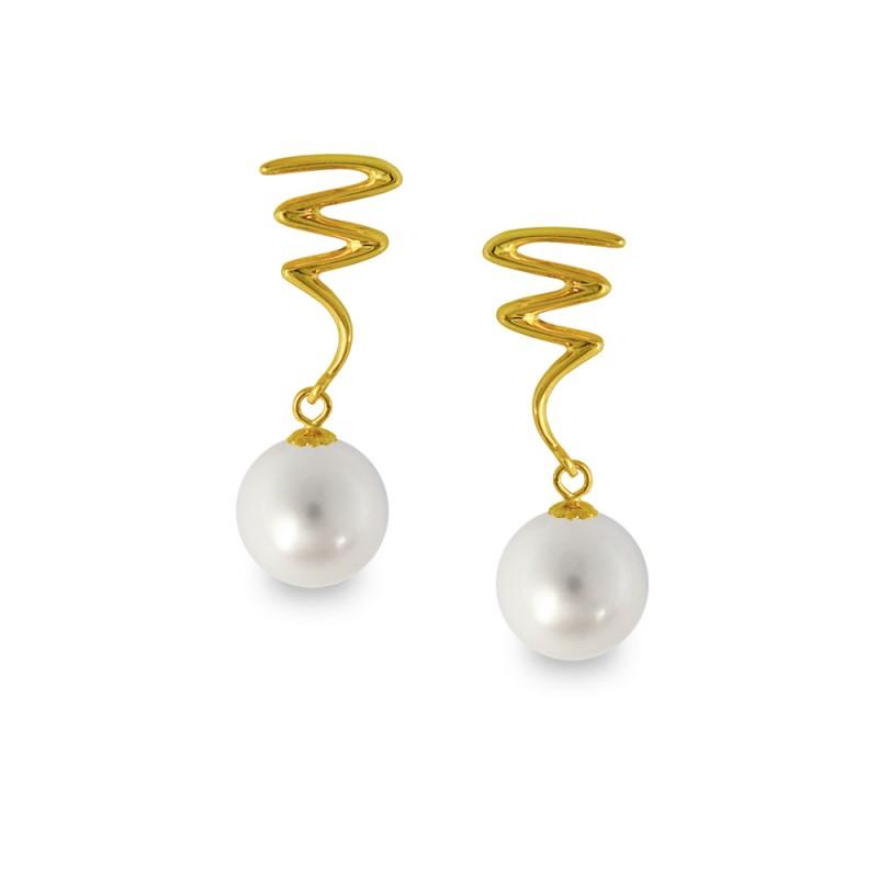 Σκουλαρίκια με γκρι μαργαριτάρια σε χρυσή βάση Κ14 - G318826G