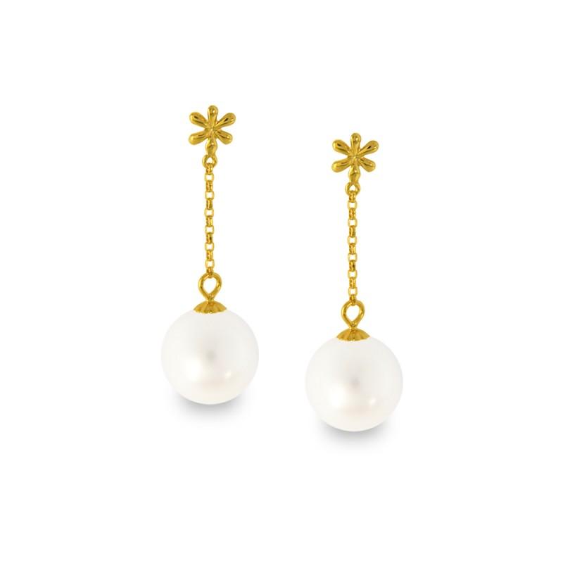 Σκουλαρίκια με λευκά μαργαριτάρια σε χρυσή βάση Κ18 - G318827