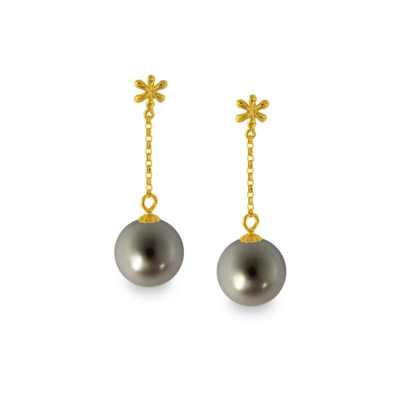 Σκουλαρίκια με μαύρα μαργαριτάρια σε χρυσή βάση Κ14 - G318827B