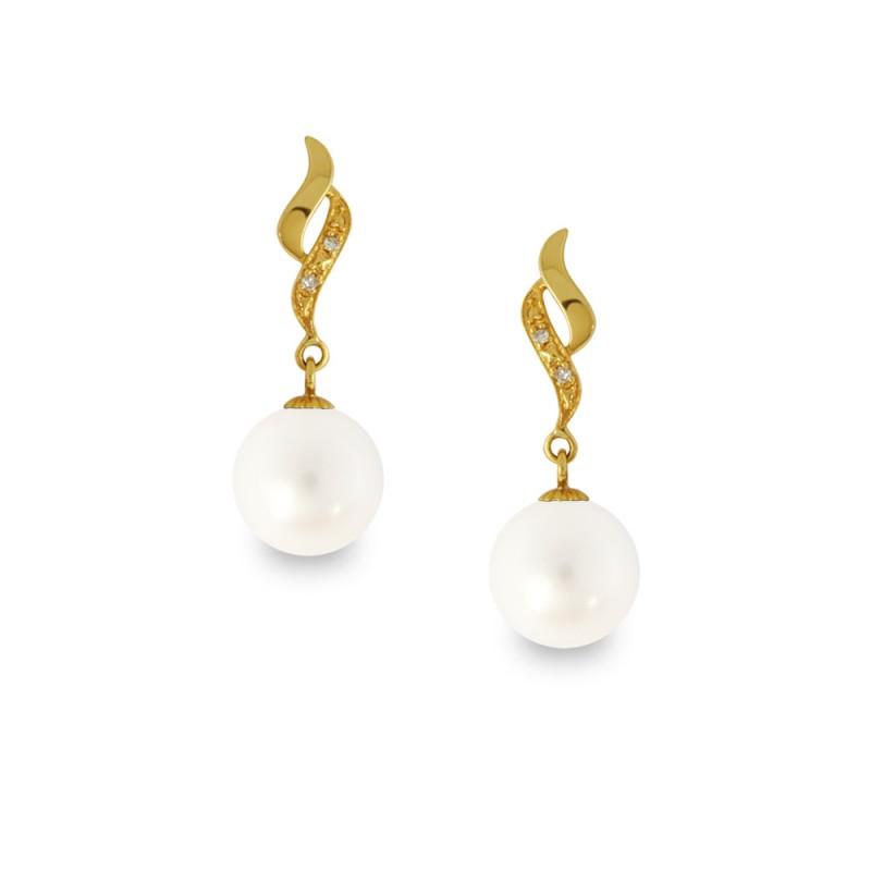 Σκουλαρίκια με λευκά μαργαριτάρια και διαμάντια σε χρυσή βάση Κ14 - G318829