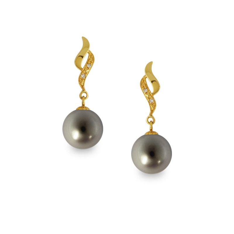 Σκουλαρίκια με μαύρα μαργαριτάρια και διαμάντια σε χρυσή βάση Κ14 - G318829B