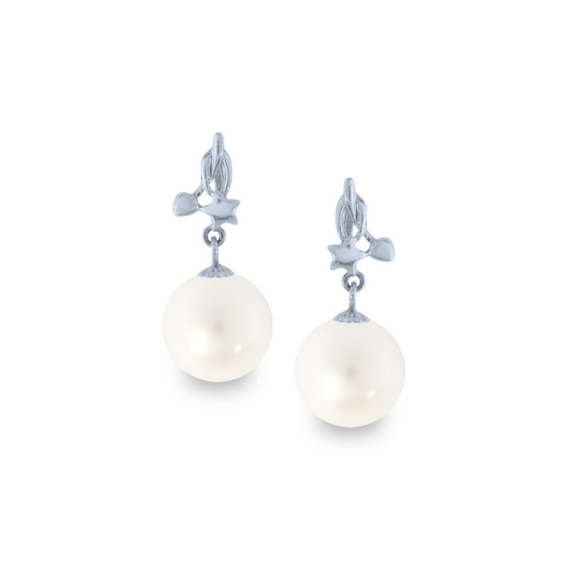 Σκουλαρίκια με λευκά μαργαριτάρια σε λευκόχρυση βάση Κ18 - W318835